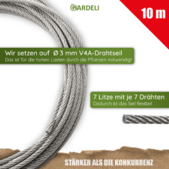 GARDELI Edelstahlseil 10m