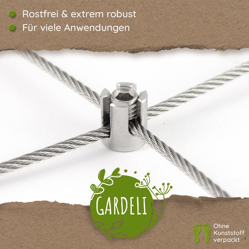 Seilkreuzklemme von GARDELI passen für zwei drei Millimeter Drahtseile