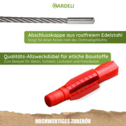 Gardeli Edelstahl-Seil und Allzweckdübel Edelstahlendkappen V4A