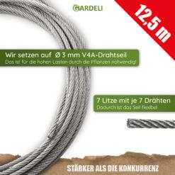 GARDELI Komplettset 12,5 Meter Seil 3mm Durchmesser